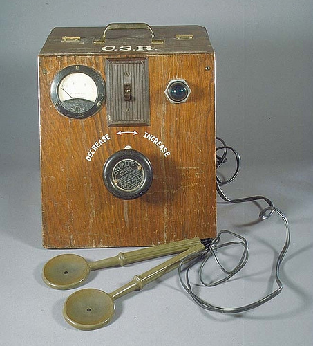 One of the three prototypes of a defibrillator Dr. Claude Beck invented to save lives of heart patients