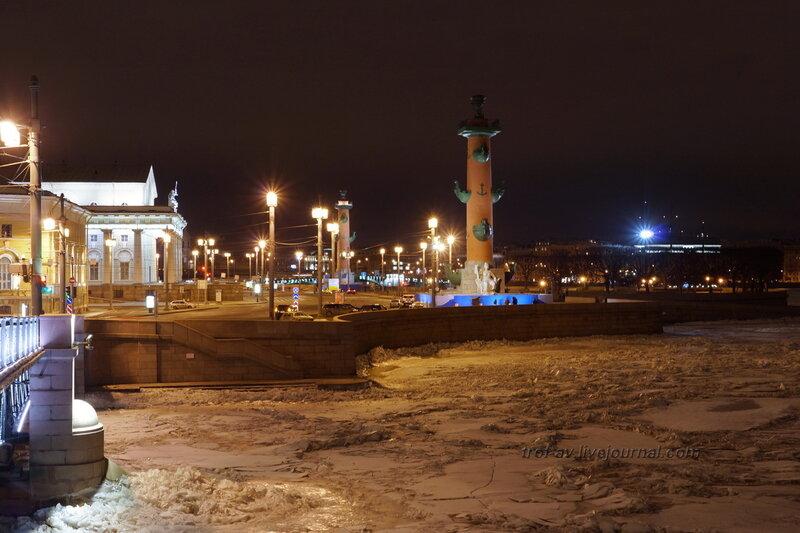 Здание Биржи и Ростральная колонна с Дворцового моста, Санкт-Петербург