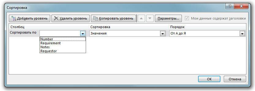 Рис. 7. Пользовательская сортировка данных