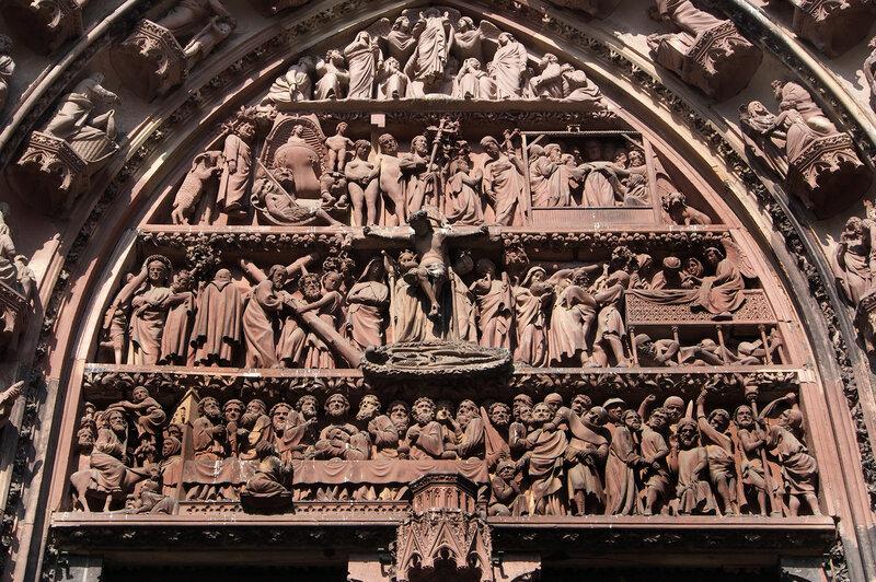 """Страсбургский собор. Центральный вход. Тимпан """"Страсти Христовы"""""""