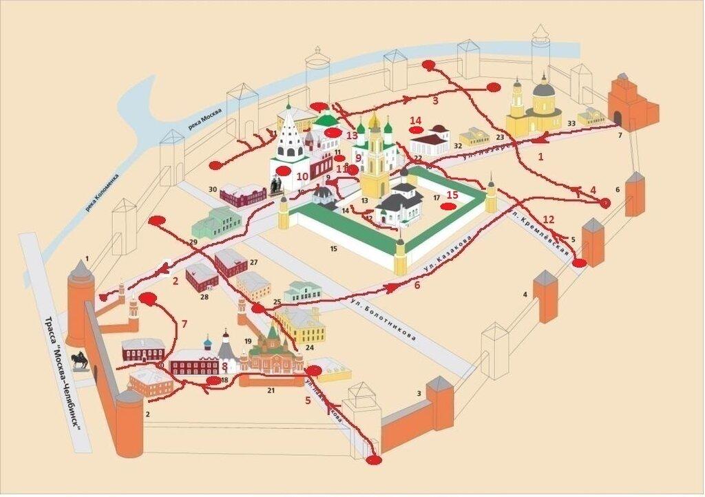 Схема кремля и 15я прогулка