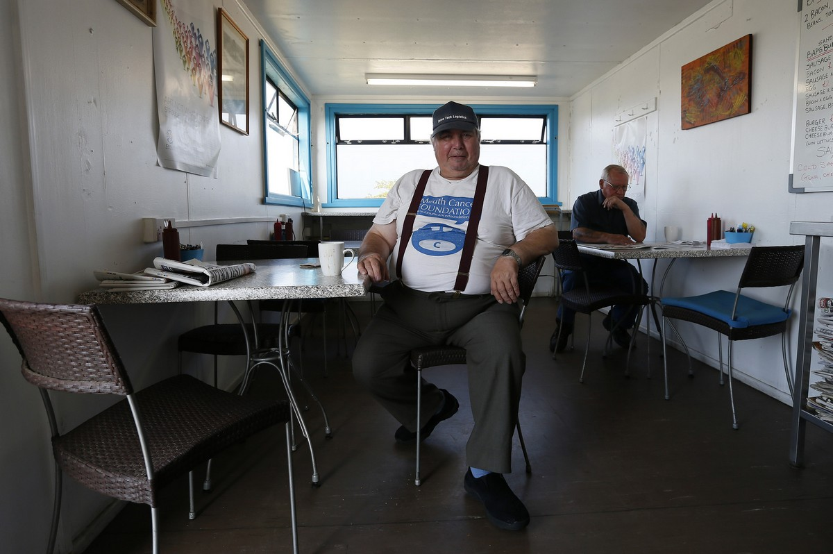 Bernard Teal, a 61 year-old pensioner, poses for a photograph at the Glider Cafe, along the A419 near Frampton Mansell
