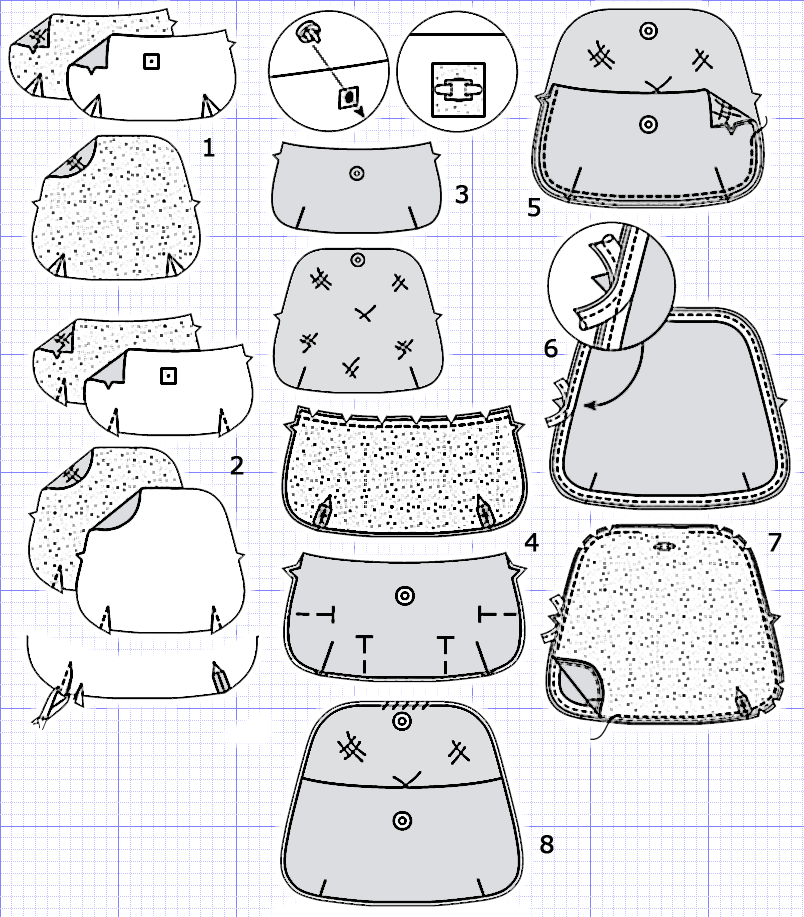 Схема пошива сумки клатч.