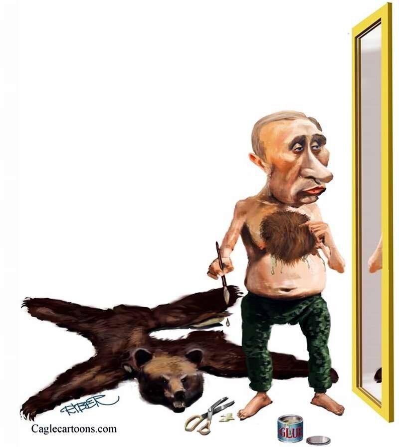 Путин приклеивает себе на грудь волосы медведя (Riber Hansson)