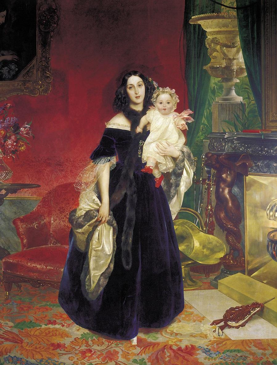 Портрет М.А.Бек с дочерью М.И.Бек. 1840 Третьяковская галерея, Москва.