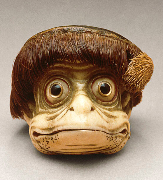 'Netsuke' (miniature sculptures that were invented in 17th-century Japan) in the form of a Kappa mask. Mid-to-late 19th century, Japan.