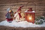 Two little santa  and lantern