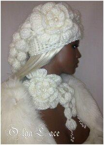 Снежная гроздь от Oльги Лэйс. Шапка+шарф (крючком)