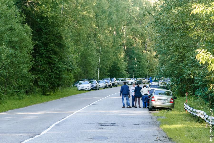 машины стоят вдоль дороги