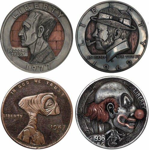 Одетые монеты ручной работы