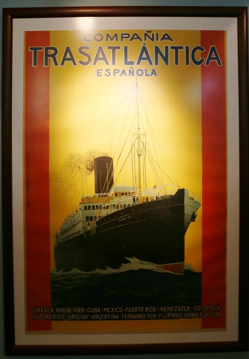 Maritime Museum of Barcelona. The poster of the transatlantic lines from the early 20th century