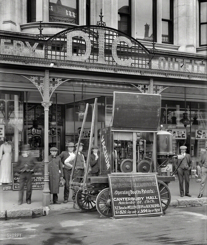 Christchurch, New Zealand, circa 1910. Vacuum Cleaning Company machine at DIC store