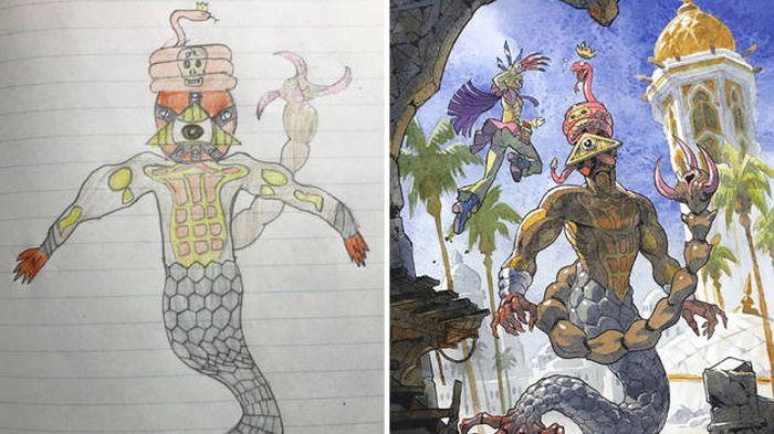 Художник рисует героев аниме на основе рисунков своих сыновей