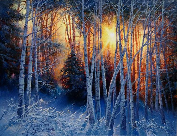 Гаснет вечер, даль синеет...Потрясающие пейзажи Виктора  Анатольевича  Долгополова