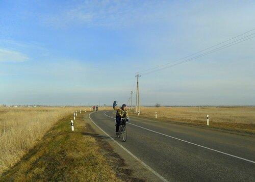 На курган, январь с велосипедом