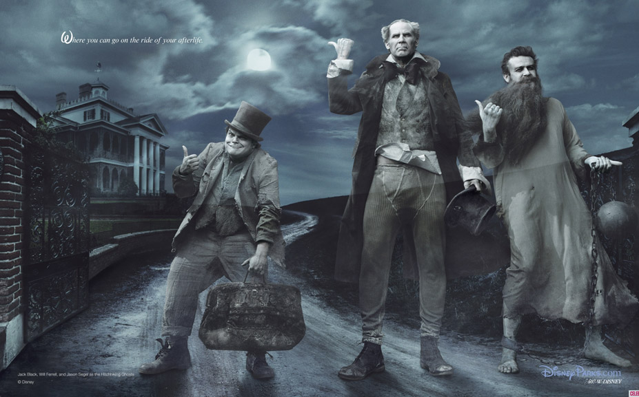 Disney's Year of a Million Dreams by Annie Leibovitz - Jack Black, Will Ferrell and Jason Segel as the Hitchhiking Ghosts from the Haunted Mansion / Джек Блэк, Уилл Феррелл и Джейсон Сигел в образе Команды Призраков