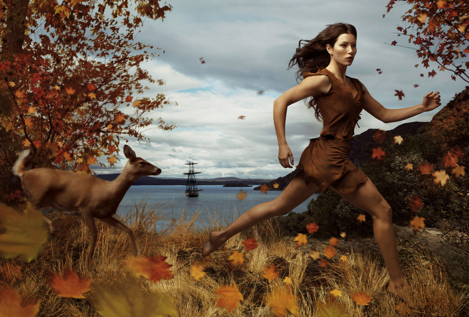 Disney's Year of a Million Dreams by Annie Leibovitz - Jessica Biel as Pocahontas / Джессика Бил в образе Принцессы Покахонтас
