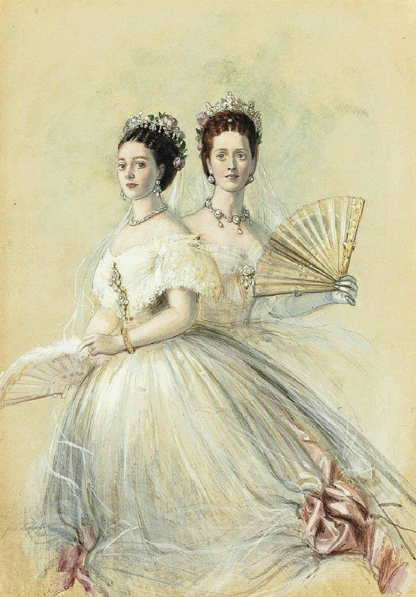 Franz-Xaver Winterhalter (German, 1805-1873) Portrait of Czarina Maria Feodorovna and her sister Alexandra, Princess of Wales signed and dated 'F Winterhalter 1868' (lower left) pencil, watercolour and bodycolour on paper
