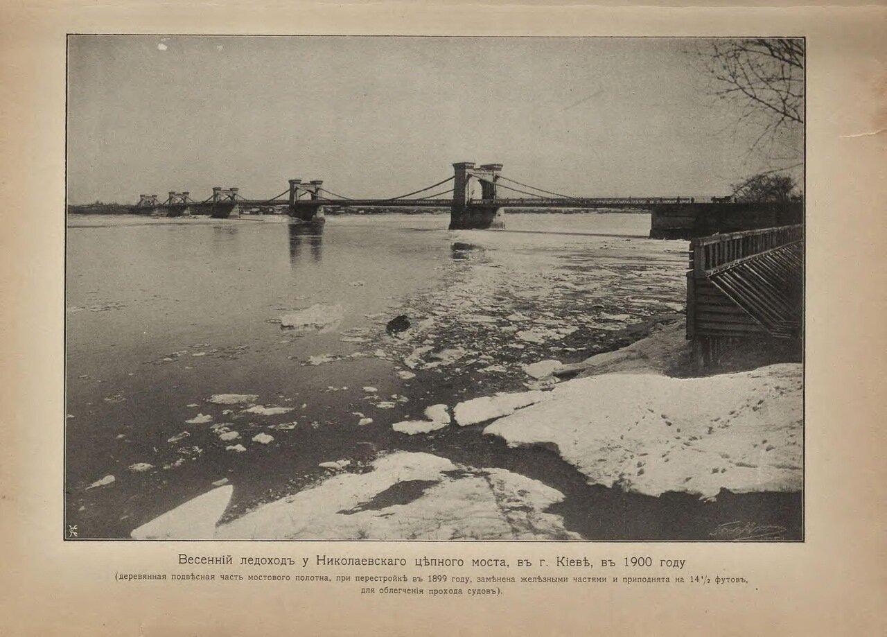 Весенний ледоход у Николаевского цепного моста в Киеве в 1900 году