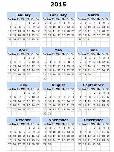 Календарь 2015. Без рисунка открытка поздравление картинка