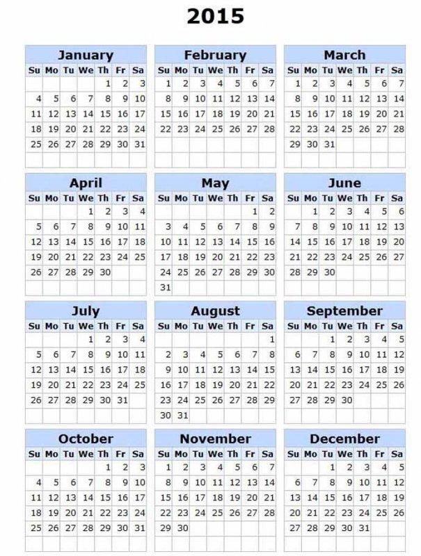 Календарь 2015. Без рисунка