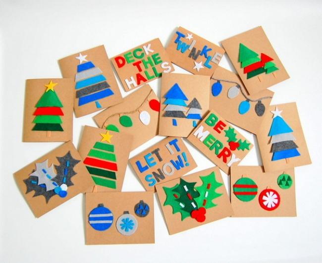 Нарядные открытки получатся изяркого фетра, который продают вмагазинах для рукоделия. Еще немн