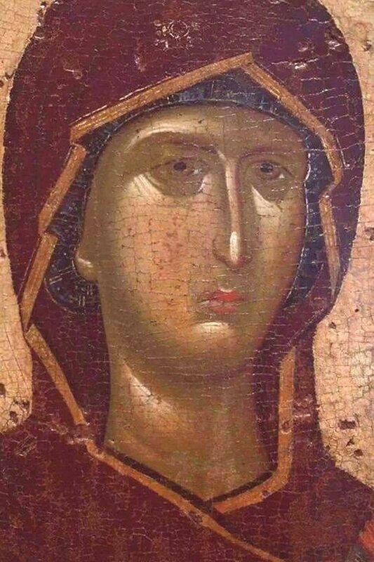 Пресвятая Богородица. Фрагмент византийской иконы XIV века.