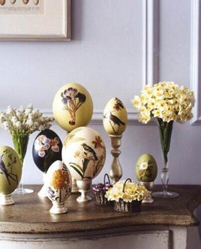 Пасхальные яйца с ботаническим  декупажем