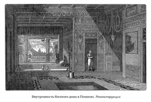Реконструкция интерьера богатого дома в Помпеях, гравюра