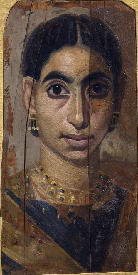 Artist unknownRoubayat (Fayum), EgyptPortrait of a Woman 160–225 Encaustic on cypress wood, 13-5/8 x 8 inchesStanford Family Collections, JLS.22225
