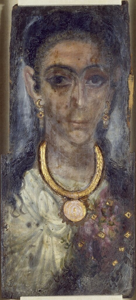 Egypto-Roman. 'Mummy Portrait of a Woman from Fayum, Egypt,' 2nd century. Encaustic on wood. Walters Art Museum (32.4): Acquired by Henry Walters (Kelekian).