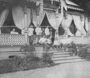 Группа офицеров Конно-гренадерского полка на даче офицерского собрания.
