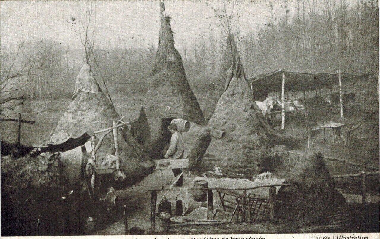 1910. Хижины в суданской деревне