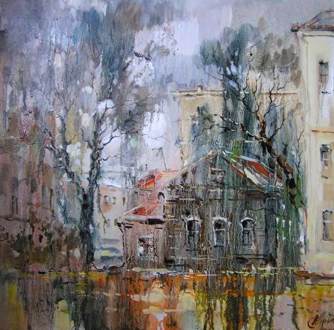 Анна Чарина. Осенний дождь. Старый дом в Стремянном переулке.jpg