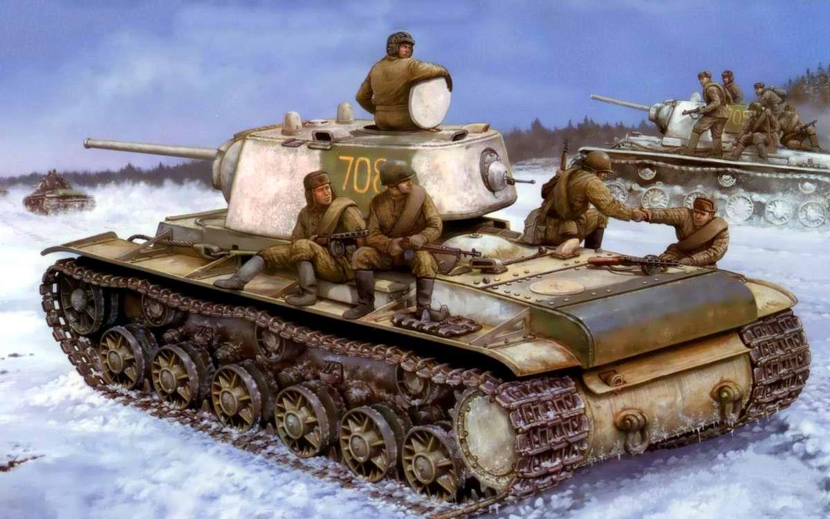 Танки КВ-1 с пехотой на броне (Vincent Wai)
