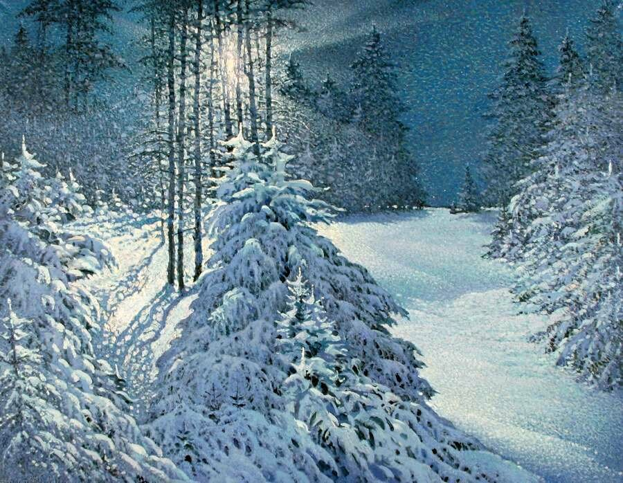 Крылов Владимир. Лунный свет в зимнем лесу