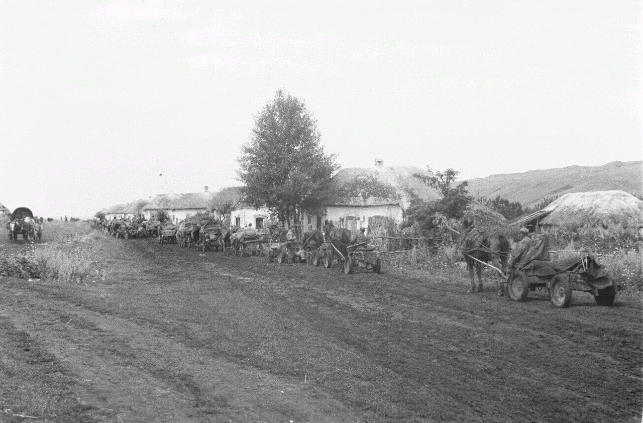 Белгородская область. Немецкий конвой покидает деревню