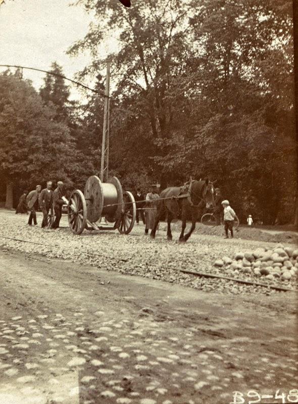 Использование лошадей во время строительства