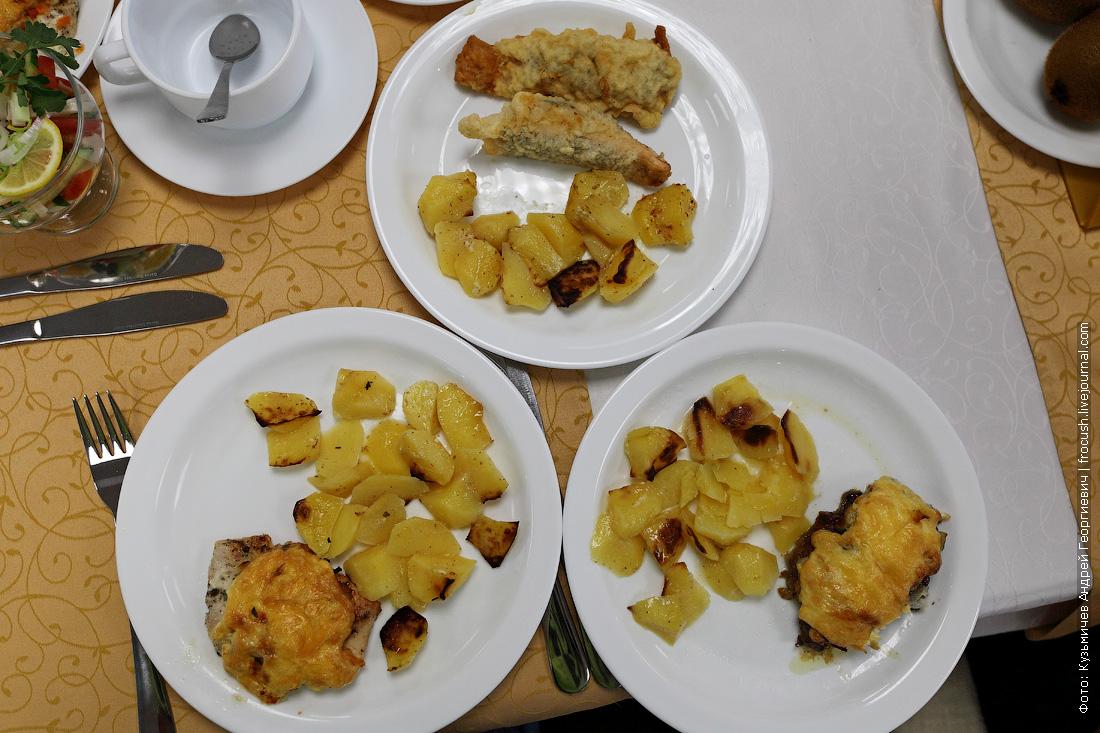 Снова одинаковый гарнир к рыбе в кляре, филе кур по-французски и печени по-царски