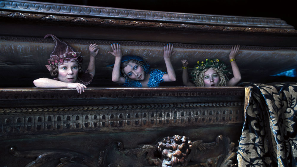 Disney's MALEFICENTL to R: Knotgrass (Imelda Staunton), Flittle (Lesley Manville), and and Thistlewit (Juno Temple)Photo Credit: Film Frame©Disney 2014