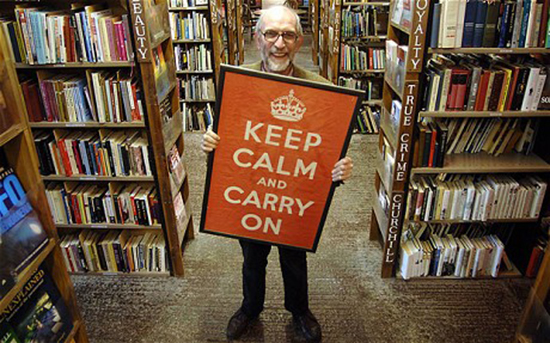 Dated: 16/03/2009 File pictureStuart Manley of Barter Books store in Alnwick, Northumberland, with the original  'Keep Calm and Carry On' WWII Poster published in 1939.  Stuart had so many enquiries for customers about the poster that he had facsimile