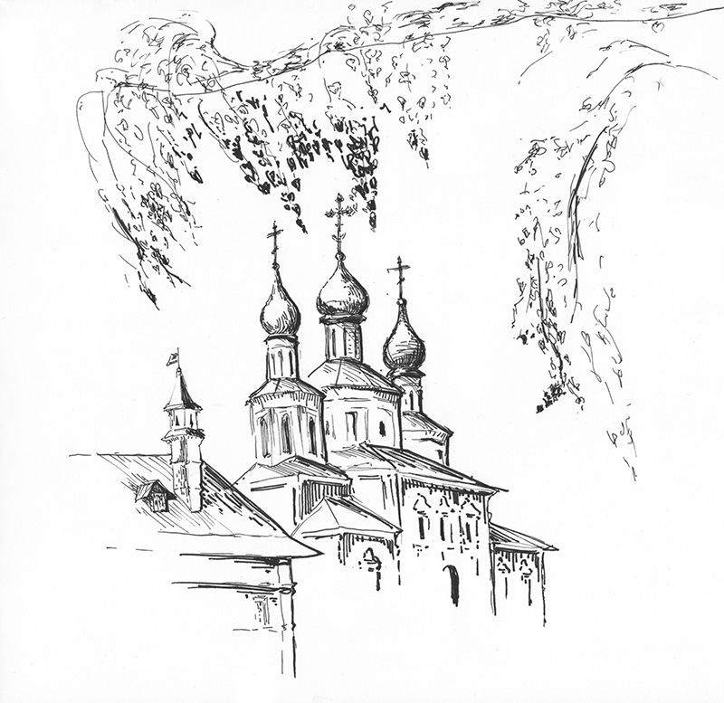 Нарисовать, монастырь картинки карандашом
