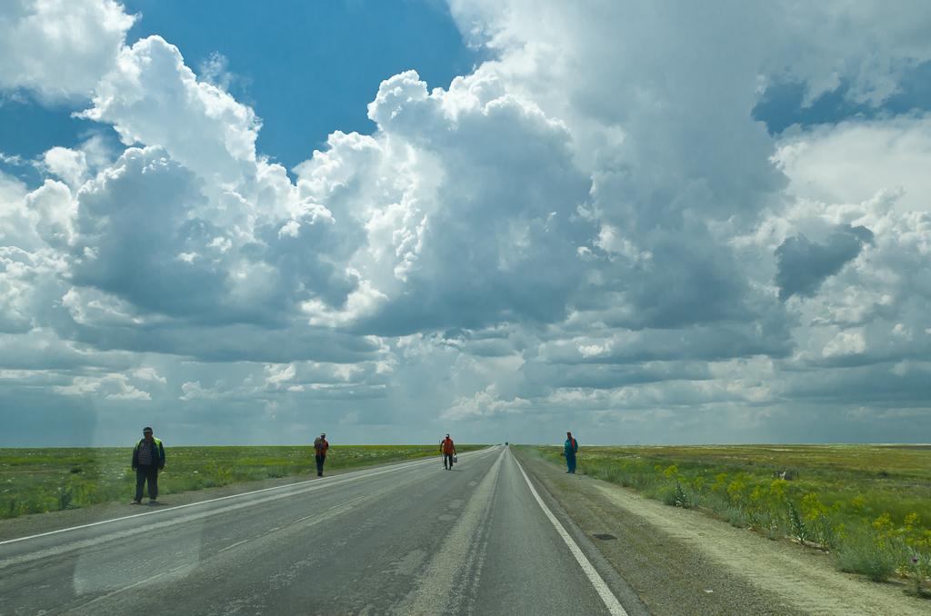 В степи обитают только дорожные рабочие. Фото снято через веторовое стекло автомобиля на скорости