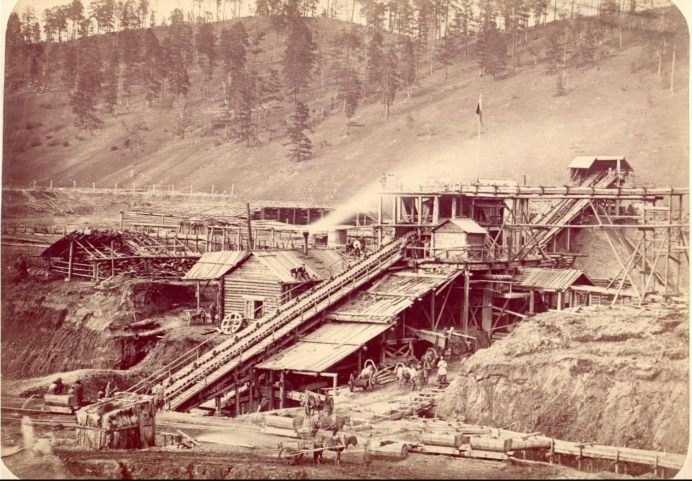 Окрестности Нерчинска. Золотопромывательная машина на Дарасунском прииске