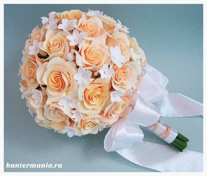 Какие бывают свадебные букеты - круглый букет