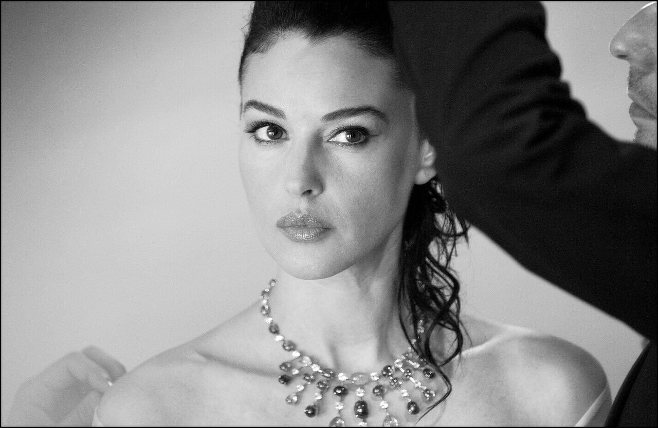 05/25/2003. Monica Bellucci in her dressing room before and during the closing ceremony of the 56th Cannes Film Festival