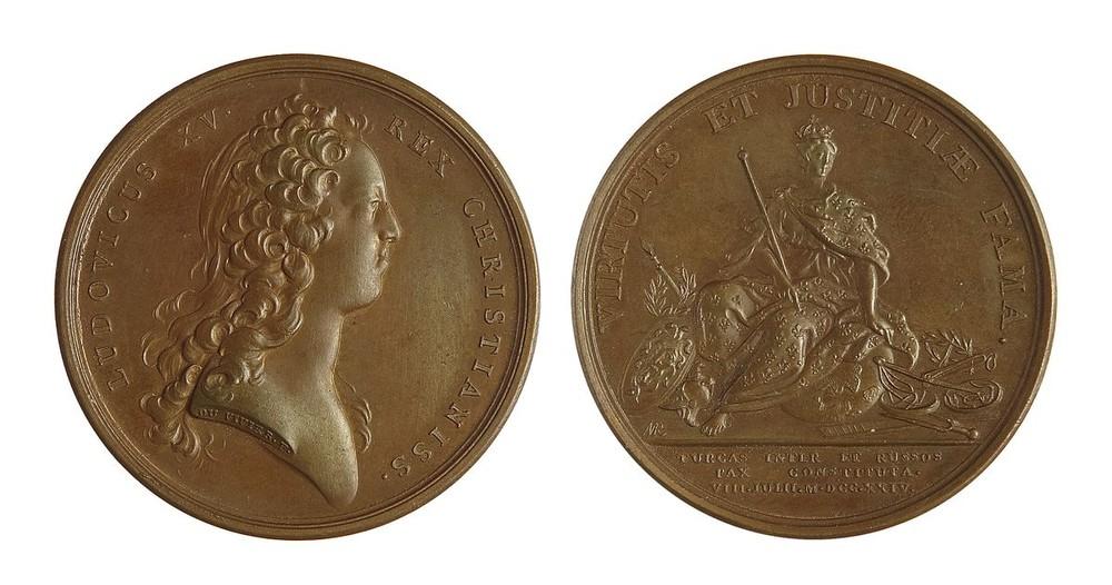 Настольная медаль В честь заключения мира между Россией и Турцией. 8 июля 1724 г.