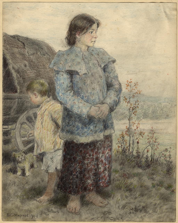 Сибирь. Дети переселенцев в пути