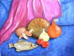 """Головяшкин Тимофей (рук. Стрикулистова Лидия Константиновна) - """"Натюрморт с рыбой"""""""