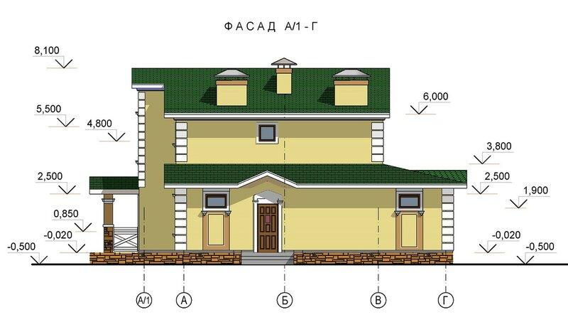 Проект коттеджа, фасад 2
